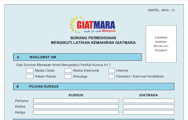 Download borang permohonan GiatMara Malaysia secara online