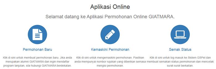 Applikasa online permohonan kemasukan ke pusat latihan Giatmara