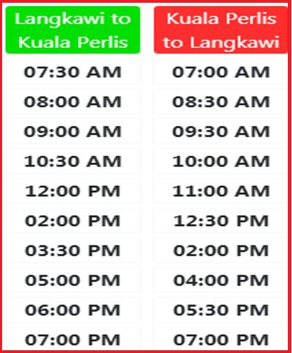 Jadual perjalanan feri dari Langkawi ke Kuala Perlis