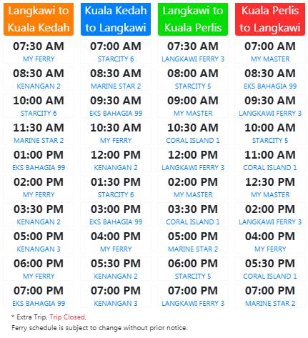 Jadual perjalanan feri ke Langkawi ke Kedah yang terkini