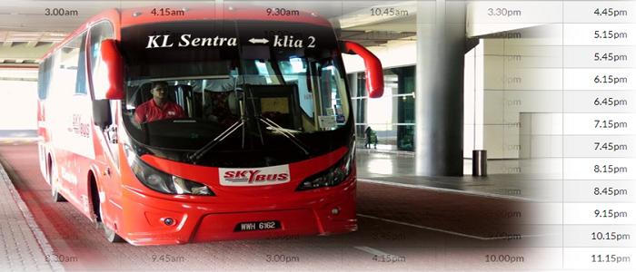 Jadual bas dan harga tiket bas KL Sentral ke KLIA2
