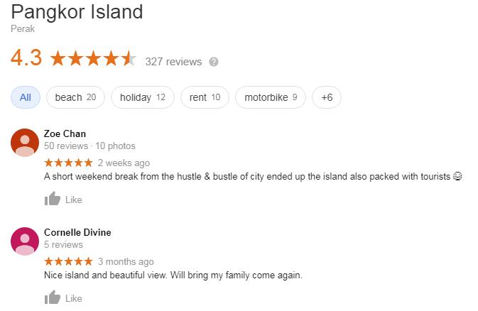 Review pengunjung untuk Pulau Pangkor