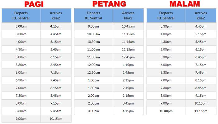 Jadual bas dari KL Sentral ke KLIA2 setiap hari