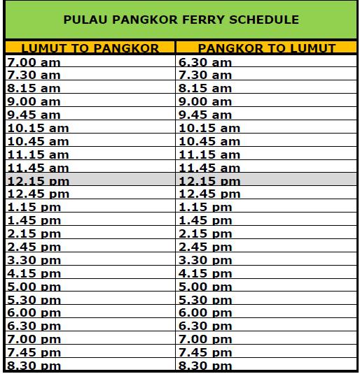 Jadual perjalan feri ke Pulau Pangkor dari Lumut