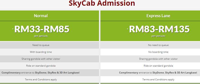 Senarai harga tiket cable car Langkawi terkini