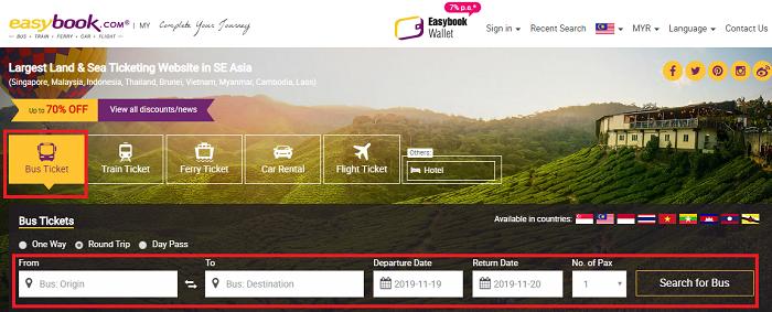 book tiket bas atau ferry secara online guna easybook.com