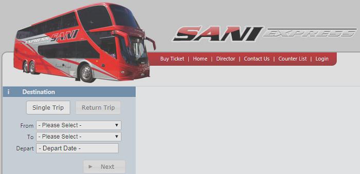 Applikasi online Sani Express check trip dan harga tiket bas