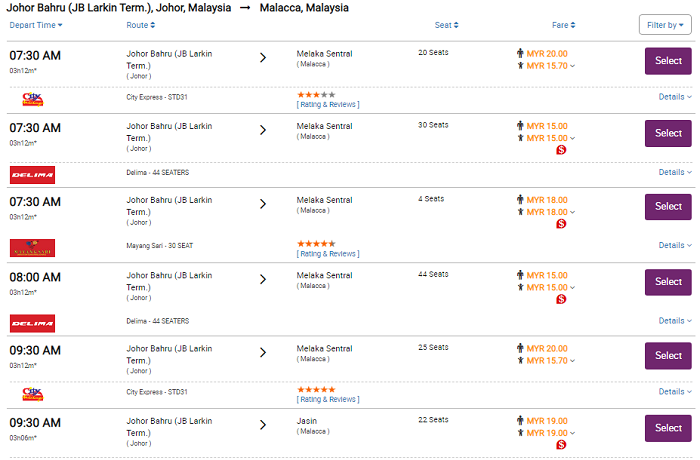 Check jadual dan harga tiket bas Larkin ke Melaka online