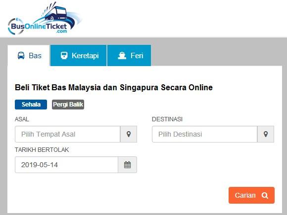 Cara buat booking tiket bas online
