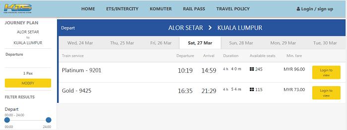 Book tiket ETS dari Alor Setar ke Kuala Lumpur online