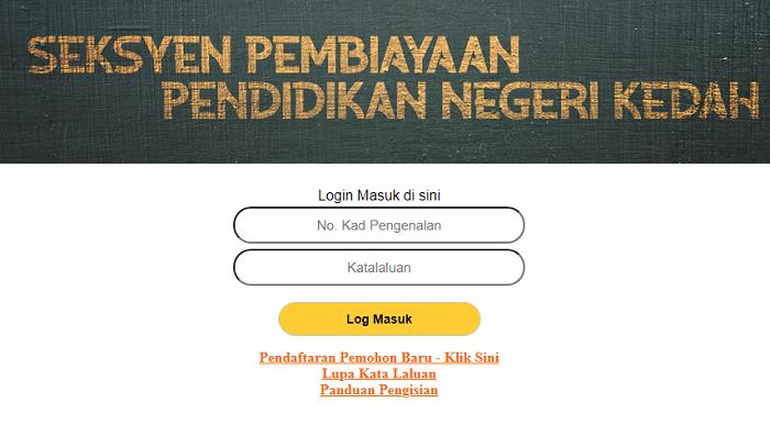 Permohonan pinjaman pelajaran Yayasan Kedah secara online