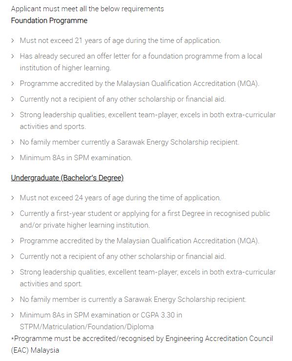 Syarat kelayakan memohon Sarawak Energy Scholarship